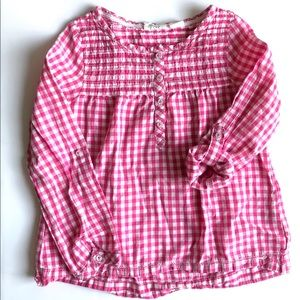 H&M Pink Gingham Button Down Long Sleeve